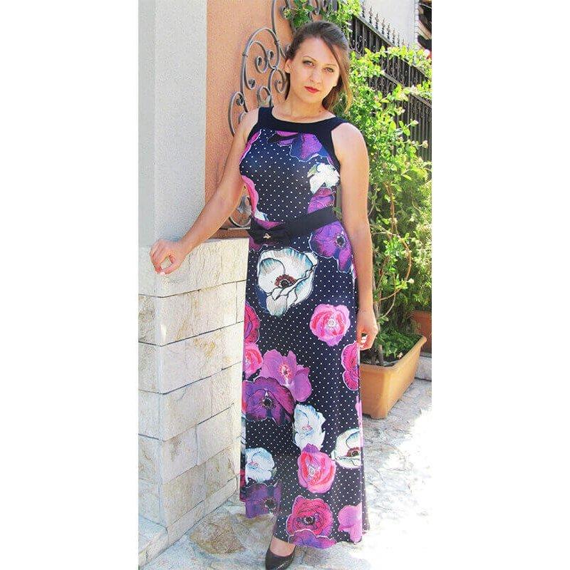 61e481c2e07 Дълга рокля от трико на цветя без ръкав за лятото ежедневна рокля ...