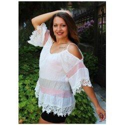 Блузка с дантела отворени рамене