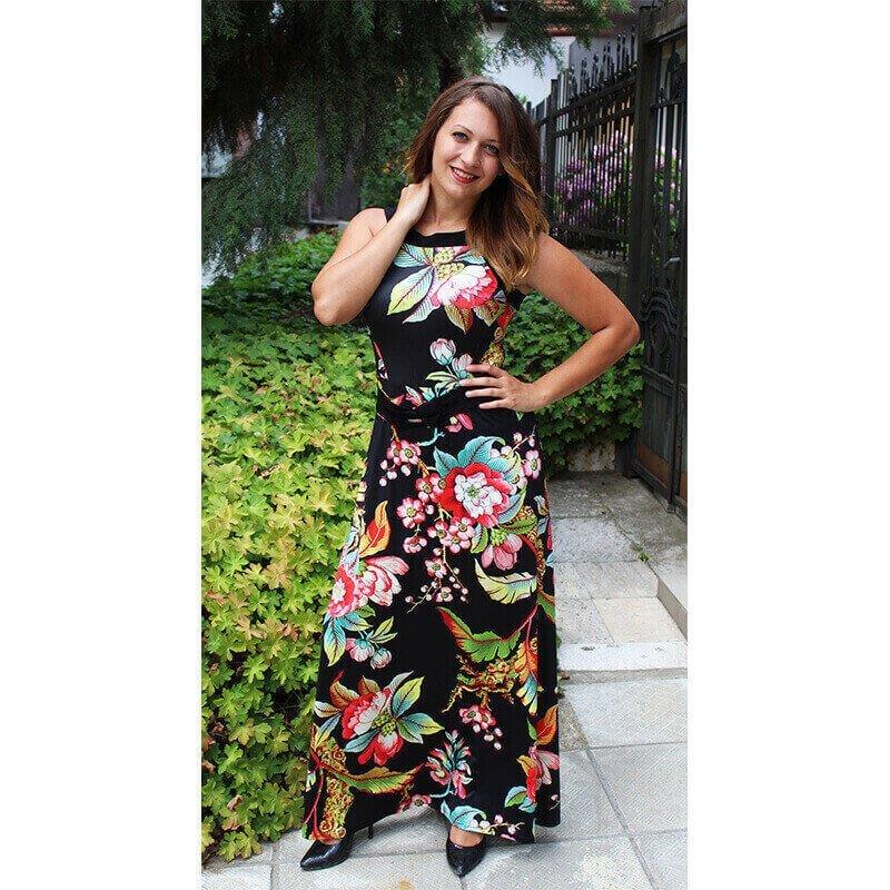 515ce567f93 Дълга рокля ежедневна Валерия на цветя без ръкав за лятото с коланче ...