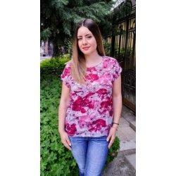 Блузка с къс ръкав на цветя