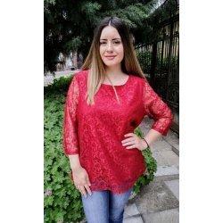 Червена дантелена блуза