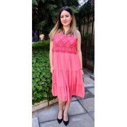 Лятна рокля цвят корал