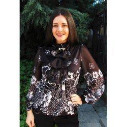 Черна официална блузка на цветя