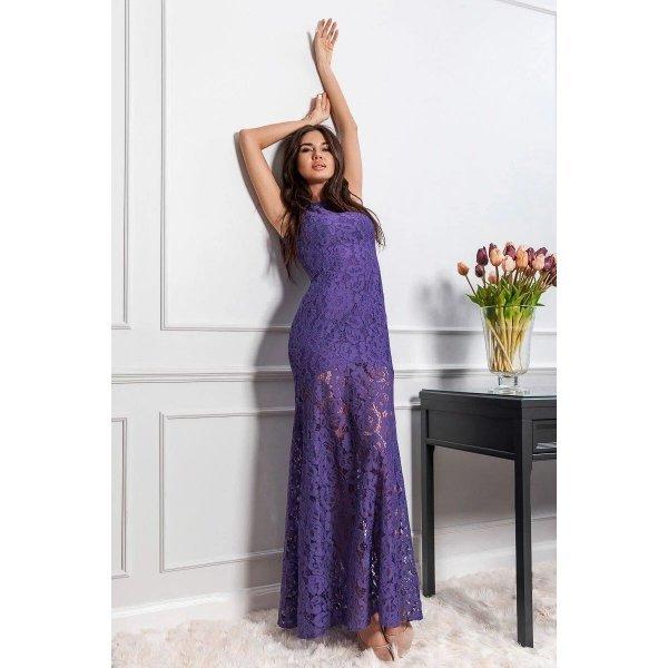 Бална рокля от дантела лилава