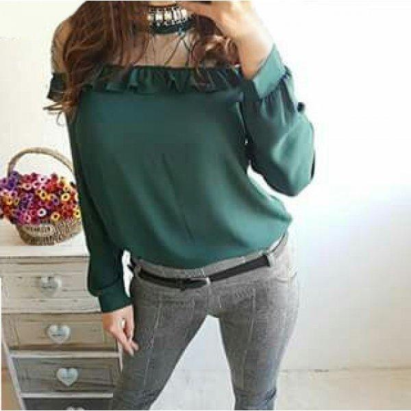 Блузка официална зелена