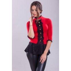 Червена блузка с дантела