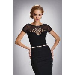 Черна официална блуза къс ръкав