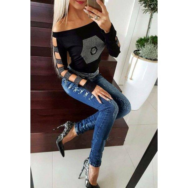 Черна блузка памучна