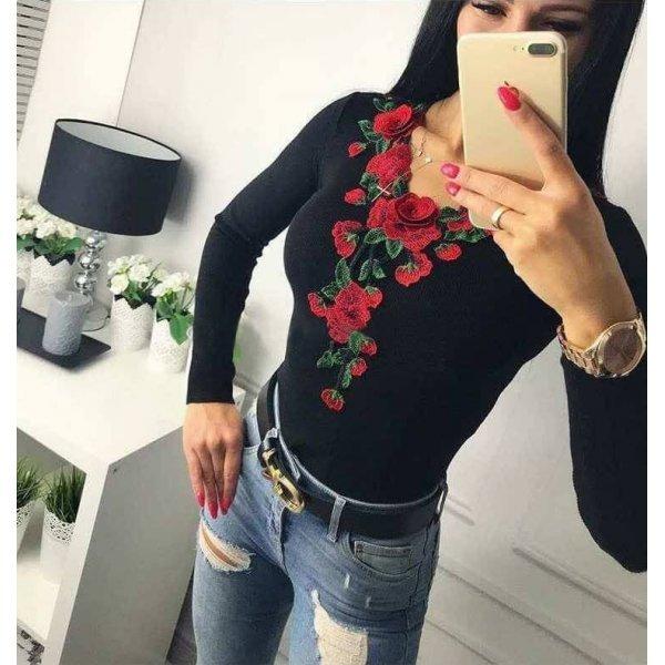 Черна памучна блузка