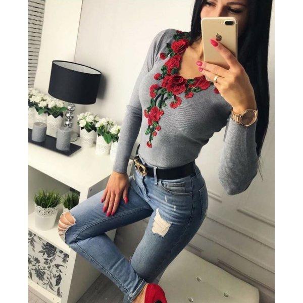 Памучна блузка с цветя