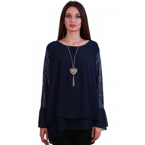 Блуза едри дами тъмно синя