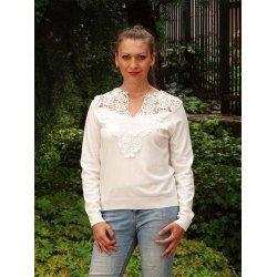Бяла блуза фино плетиво