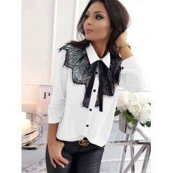 Блузка с дантела официална бяла