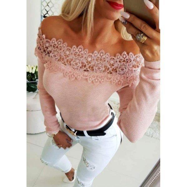 Блуза с дантела отворени рамене