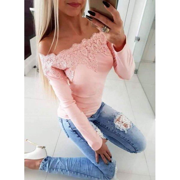 Блузка пудра с дантела
