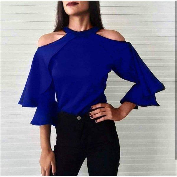 Блузка с отворени рамене кралско синя