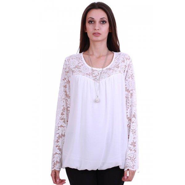 Бяла блуза с дантела 2XL