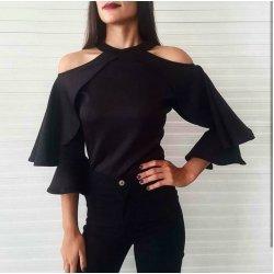 Черна блузка отворени рамене