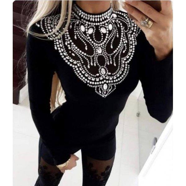 Официална блуза с камъни