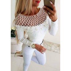 Памучна блузка с перли