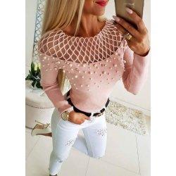 Розова блузка с перли