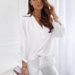 Бяла блуза с три четвърти ръкави
