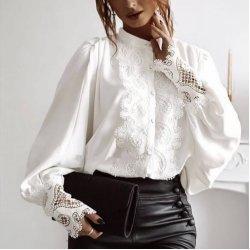 Бяла официална риза с дантела