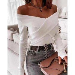 Бяла памучна блуза с отворени рамене