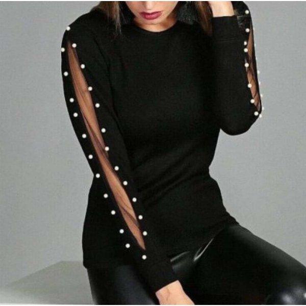Черна блуза с тюл и перли