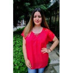 Червена официална блуза макси