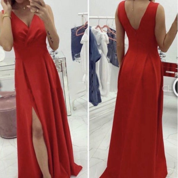Червена дълга рокля Кристина