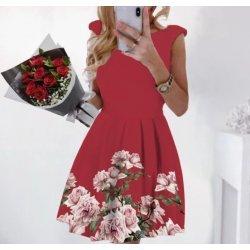 Червена рокля на цветя