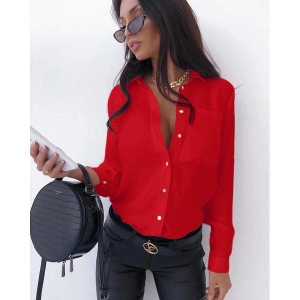Дамска червена риза