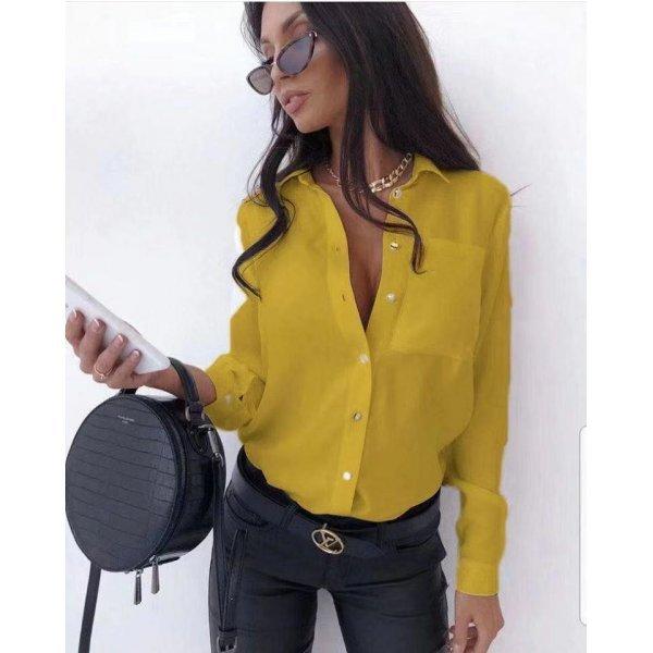 Жълта дамска риза