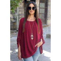 Официална блуза бордо макси размер