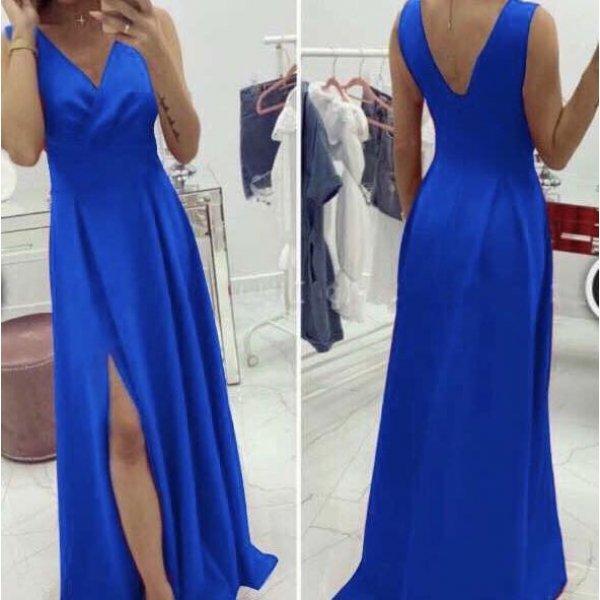 Кралско синя дълга рокля