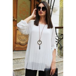 Блуза солей бяла с колие