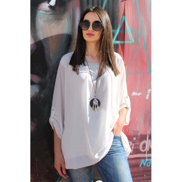 Официална бяла блуза макси