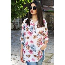 Бяла блуза на цветя макси