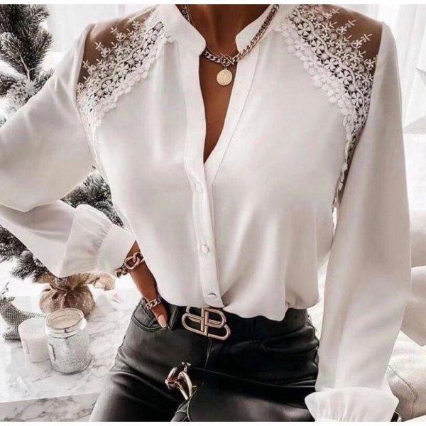 Бяла риза с брюкселска дантела
