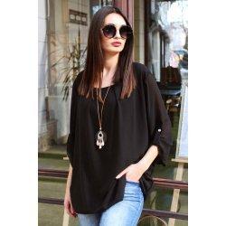 Черна официална блуза макси размер