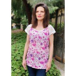 Лятна блуза с дантелен ръкав
