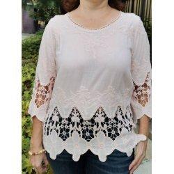Памучна блуза с дантела
