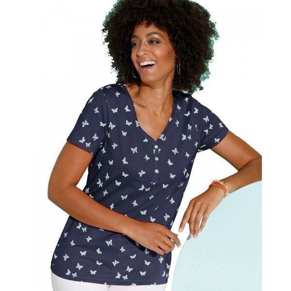 Памучна дамска блузка с къс ръкав