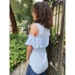 Памучна блуза с перли