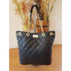 Дамска черна чанта с дръжки-верига