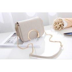 Бежова чанта с дълга дръжка-верига