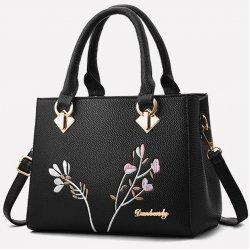 Малка черна чанта Flowers