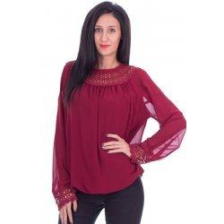 Шифонена блуза с дантела