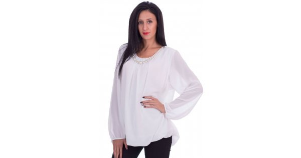 Официална шифонена блуза с перли бяла